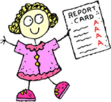 Stick-figure girl with report card